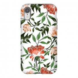 iPhone Xr  Floral Feels by Uma Prabhakar Gokhale (graphic design, pattern, watercolor, floral, nature, botanical, summer, spring, exotic, blossom, bloom, flourish, green, blush, orange)