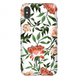 iPhone Xs Max  Floral Feels by Uma Prabhakar Gokhale (graphic design, pattern, watercolor, floral, nature, botanical, summer, spring, exotic, blossom, bloom, flourish, green, blush, orange)