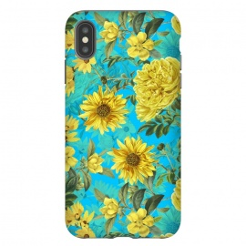 iPhone Xs Max  Sunflowers and Yellow Roses on Teal Pattern by Utart