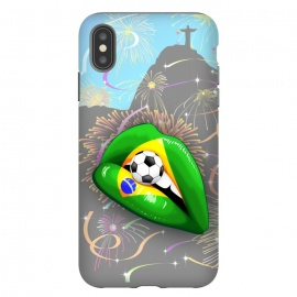 iPhone Xs Max   Brazil Flag Lipstick Soccer Supporters on Sensual Woman's Lips by BluedarkArt
