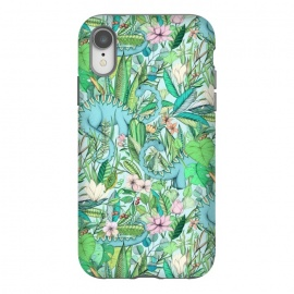 iPhone Xr  Summer Floral with Dinosaurs by Micklyn Le Feuvre