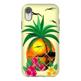 iPhone Xr  Pineapple Tropical Sunset, Palm Tree and Flowers by BluedarkArt