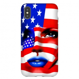 iPhone Xs Max  Usa Flag on Beatiful Girl's Face by BluedarkArt