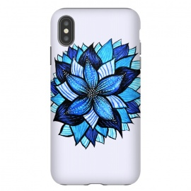 iPhone Xs Max  Beautiful Abstract Hand Drawn Zentangle Blue Flower by Boriana Giormova
