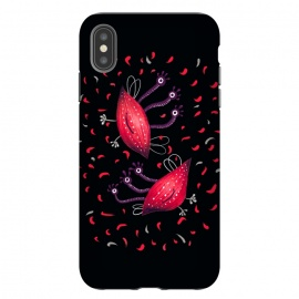 iPhone Xs Max  Cute Funny Red Three Eyed Cartoon Aliens by Boriana Giormova