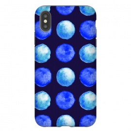 iPhone Xs Max  Winter Blue Watercolor Large Dots Pattern by Boriana Giormova