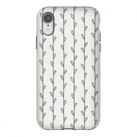 iPhone Xr  Gray Botanicals Stripes by ArtPrInk