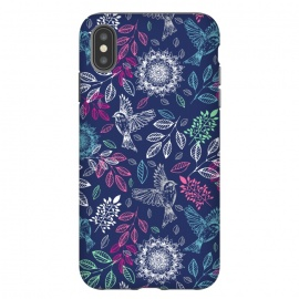 iPhone Xs Max  Fly Away by Rose Halsey (birds,nature,fly,floral,flowers,pink,pretty,laeaves,leaf,boho,mandala)