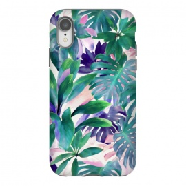iPhone Xr  Pastel Summer Tropical Jungle by Micklyn Le Feuvre (jungle,tropical,monstera,summer,pastels,micklyn,pattern,painted,painting,acrylic,leaves,leaf,green,botanical,plants,plant,nature,pink,magenta,bright,colorful)