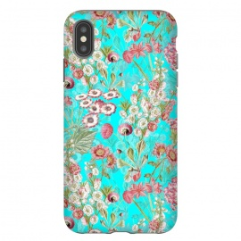 iPhone Xs Max  White & Pink Flowers on Teal by Utart