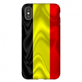 iPhone Xs Max  Belgium Flag Waving Silk Satin Fabric by BluedarkArt