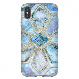 iPhone Xs Max  Geometric Gilded Stone Tiles in Soft Blues by Micklyn Le Feuvre