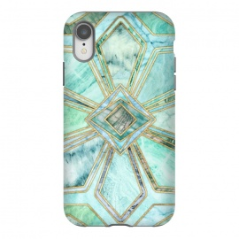iPhone Xr  Geometric Gilded Stone Tiles in Mint and Jade Green by Micklyn Le Feuvre