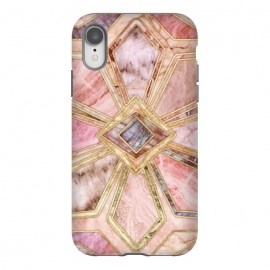 iPhone Xr  Geometric Gilded Stone Tiles in Blush Pink, Peach and Coral by