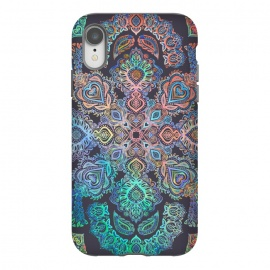 iPhone Xr  Boho Intense by Micklyn Le Feuvre (bohemian,boho,mandala,medallion,doodle,micklyn,rainbow,colors,colorful,detailed,pink,peach,mint green,dark, navy, blue, patterned,pattern,drawing)
