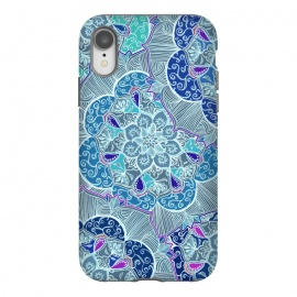 iPhone Xr  Fresh Doodle in Teal Blue, Purple and Grey by Micklyn Le Feuvre (flower,mandala,medallion,boho,bohemian,micklyn,purple,linework,doodle,detailed,teal,blue grey,white,lines,hippy,girly)