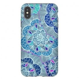 iPhone Xs Max  Fresh Doodle in Teal Blue, Purple and Grey by Micklyn Le Feuvre