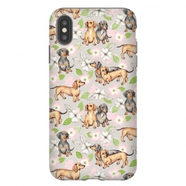 iPhone Xs Max  Dachshunds and dogwood blossoms by Micklyn Le Feuvre