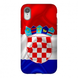 iPhone Xr  Croatia Flag Waving Digital Silk Satin Fabric  by BluedarkArt