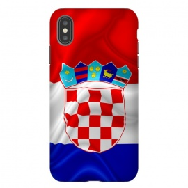Croatia Flag Waving Digital Silk Satin Fabric  by BluedarkArt