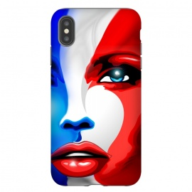 iPhone Xs Max  France Flag Beautiful Girl Portrait by BluedarkArt