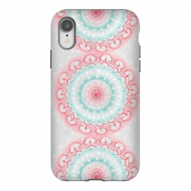 iPhone Xr  Faded Coral & Mint Mandalas on Grey by Tangerine-Tane