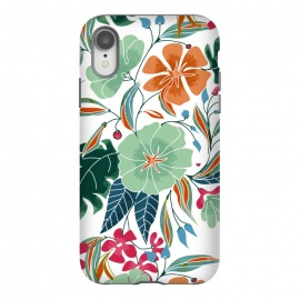 iPhone Xr  Minty + Rust Floral by Uma Prabhakar Gokhale (graphic design, pattern, floral, nature, exotic, botanical, blossom, flowers, rust, mint, colorful, bloom, leaves)