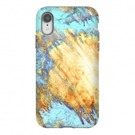 iPhone Xr  Gold & Aqua Marbling Storm  by
