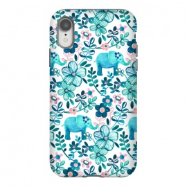 iPhone Xr  Little Teal Elephant Watercolor Floral on White by Micklyn Le Feuvre