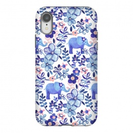 iPhone Xr  Little Purple Elephant Watercolor Floral on White by Micklyn Le Feuvre