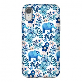 iPhone Xr  Little Blue Elephant Watercolor Floral on White by Micklyn Le Feuvre