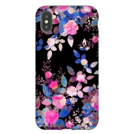 iPhone Xs Max  Blue magenta japanese roses on black by Oana