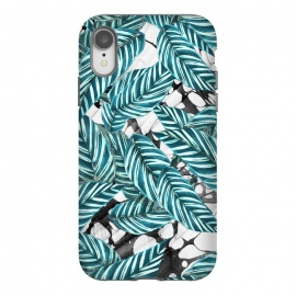 iPhone Xr  Green tropical leaves on monochrome marble by Oana