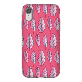 iPhone Xr  Pink Leaves Abstract Decorative Pattern by Boriana Giormova