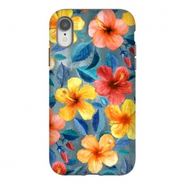 iPhone Xr  Bright Summer Hibiscus Blooms in Watercolor by Micklyn Le Feuvre (bright,hibiscus,tropical,pattern ,watercolor,micklyn,summer,island,beach,hawaiian,flower,flowers,girly,gorgeous,trend,texture,hand painted,painting,mustard,cyan,navy blue,beautiful)