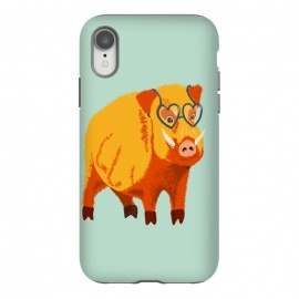 iPhone Xr  Cute Boar Pig With Glasses  by Boriana Giormova (animal, wildlife, boar, wild, pig, fur, hog, illustration, swine, muzzle, snout, tusk, fauna, eyeglasses, glasses, geek, heart shaped, kindhearted, kind, benevolent, cute, funny, humor, happy, happiness, bright, odd, weird, bizarre, fun)