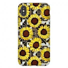 Sunflowers & Geometric Gold, Black & White Background  by Tigatiga