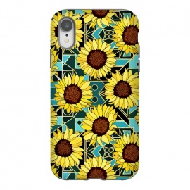 iPhone Xr  Sunflowers & Geometric Gold & Teal  by Tigatiga