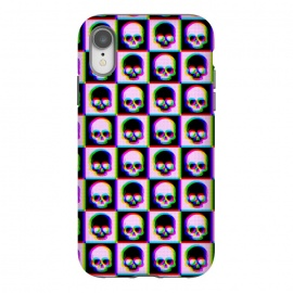 iPhone Xr  Glitch Checkered Skulls Pattern IV by Art Design Works