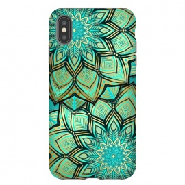 iPhone Xs Max  Emerald and Teal Gilded Mandala by Micklyn Le Feuvre