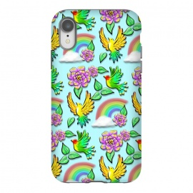 iPhone Xr  Birds Flowers and Rainbows Doodle Pattern by BluedarkArt