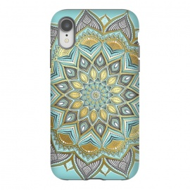 iPhone Xr  Sunny Skies Gilded Lace Medallion by Micklyn Le Feuvre (mandala,medallion,micklyn,boho,bohemian,doodle,golden,gold,gilded,mustard,yellow,blue,cyan,light grey, lace, lacy, geometry,detailed,beautiful,trendy,trend,girly,cute)