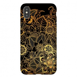 iPhone Xs Max  Floral Doodle Gold G523 by Medusa GraphicArt