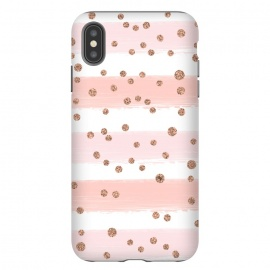 iPhone Xs Max  Pink girly stripes by Martina (pink,feminine,girly,modern,stylish,martinaillustration,illustration,graphic,gold,dots,polka dots,for her,stripes,vintage,retro,geometric)