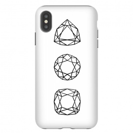 iPhone Xs Max  Black Diamonds by Martina (black and white,diamonds,stones,geometric,modern,stylish,feminine,for her,illustration,graphic)