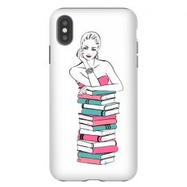 iPhone Xs Max  Lady Bookworm by Martina (books,bookworm,reading,for her,feminine,female,girl,woman,stylish,modern,illustration,martinaillustration,martina)