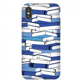 iPhone Xs Max  Blue Books by Martina (for her,for him,reading,books,bookworm,illustration,modern,unisex,stylish,martina)