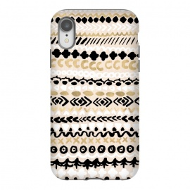 iPhone Xr  Black, White & Gold Tribal by