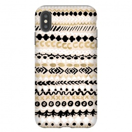 iPhone Xs Max  Black, White & Gold Tribal by Tangerine-Tane
