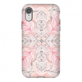 iPhone Xr  Boho Soft Peach Pink Tribal Pattern by Micklyn Le Feuvre (pink,peach,cream,tribal,linework,mandala,medallion,doodle,micklyn,detailed,boho,bohemian,pastel,pastels,girly,trend,chevron,arrows,grey)